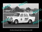 Old Postcard Size Photo Of Pete Brock Driving His Hino Contessa Race Car 1962