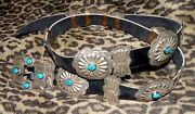 Sterling Silver Concho Belt And Buckle Turquoise