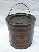 Antique Veedol 5 Lb Super Gear Oil Can 1/2 Gal Bucket Tide Water Ny Advertising