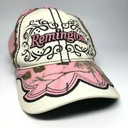 Womens Official Remington Pink Camo Adj Baseball Hat, Embroidered And Embellished