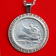 Vatican 1933-34 Silver 5 Lire St. Peter In A Boat Coin Sterling Silver Necklace