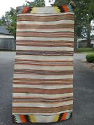 Antique Navajo Indian Double Saddle Or Childs Blanket Lazy Lines And Spirit Line