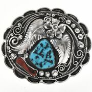 Vintage 1970s Navajo Turquoise Coral Belt Buckle Lrg Old Pawn Sterling Silver