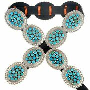 Navajo Turquoise Concho Belt Sleeping Beauty Nugget Clusters Stamped Silver