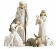 Sculpted Nativity Scene Christmas Decoration 6 Piece Set Hand Painted Resin