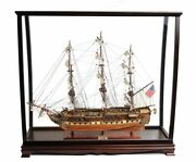 Uss Constitution Old Ironsides Tall Ship Model 38 W/ Table Top Display Case New