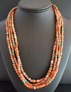 Natural Coral And Turquoise Beads Necklace By San Felipe Indian Kathleen Sanchez