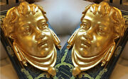 Antique Victorian Gold Gild Iron Angel Cherub Face Neoclassical Wall Sconce Art