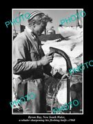 Old Postcard Size Photo Byron Bay Nsw Whaler And His Fleshing Knife C1960