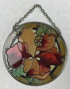 Sun Catcher Flowers Multi Color Glass And Metal Small 3.5 Round Hanging Chain