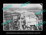 Old Postcard Size Photo Bedford England Aerial View Of Mill Meadows C1947