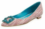 955 New Manolo Blahnik Hangisi Flats Leather Printed Jeweled Red White 41.5