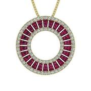 Ruby Baguette Round Diamond Circle Pendant Vs1 F 1.50ct 14k Solid Gold 0.90 Inch