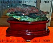 China Natural Agate Fine Carving Feng Shui Lucky Lizard Chameleon Animal Statue