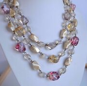 Art Deco Antique Murano Opal Swirl Glass 3 Rows Necklace Brass Links Hand Wired