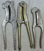 Old Vintage Set Of 3pcs Of Solid Mix Brass Betel Rare Nut Cutters Sarota