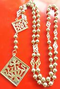 Great Gold Wash Over Sterling Antique Art Deco Rosary V. Mary Jesus Monogram