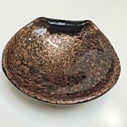 Unbranded Black And Copper Metallic Clam Shaped Art Glass Bowl 7 X 8 Diameter