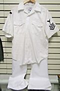 Usn Official White Uniform Shirt And Trousers Nas Key West Parachute Rigger E-6