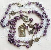 Antique Catholic Art Nouveau Rosary Banded Agate Violet Virgin Mary