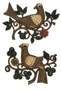 Syroco Mid Century Flower And Bird Motif Floral Branch Art Wall Plaques Set Of Two