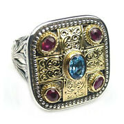 Gerochristo 2440 Solid Gold Silvertopaz And Rubies - Medieval-byzantine Ring