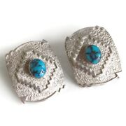 Sale Tommy Jackson Navajo Indian Signed Turquoise Sterling Silver Earrings 925