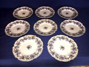 8 Antique Charles Meigh Flow Blue Opaque Porcelain Dinner Plates C1850and039s