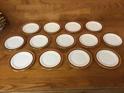 13 Hutschenreuther Selb Bavaria 6 1/2andrdquo Bread Plates Gold Encrusted W/red Band