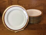11 Hutschenreuther Selb Bavaria 10andrdquo Dinner Plates Gold Encrusted W/red Band