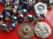 Antique Catholic Iridescent Glass Rosary Relic Water Medal May Innocence