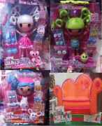 Lalaloopsy Silly Hair 3 Doll Set - Suzette, Mittens, Pix E Flutter W/ Couch Sofa