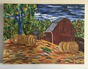 """Oil Painting Redman Road Ny 21x28"""" Farm Abstract Nazzaro Art Canvas Country Orig"""