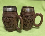 Lot Of 2 Vintage Numbered Wooden Carved Beer Mugs Steins With Metal Insert