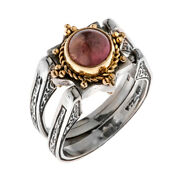 Savati 22k Solid Gold And Sterling Silver Swivel Flip Ring With Tourmaline