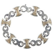 Gerochristo 6215n Solid Gold And Silver Menand039s Link Bracelet - Double Axe