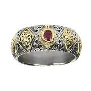 Gerochristo 2640 Solid Gold And Sterling Silver With Ruby Medieval Band Ring