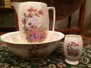 Victorian Lady Floral Garden Porcelain Pitcher And Basin Bowl Lg And Cup Antique