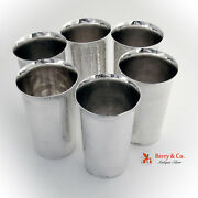 Set Of 6 Hammered Cups 950 Silver Japan 1940