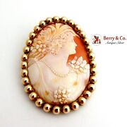 Antique Large Oval Shell Cameo Brooch 12 K Gold