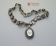 Antique English Victorian Silver Book Chain Necklace And Locket Pendant