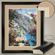 32wx40h Positano Amalfi Coast By Curt Walters - Double Matte Glass And Frame