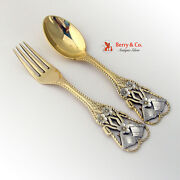 Christmas Bells Spoon And Fork Michelsen Sterling Silver 1912