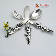 Figural Bunny Youth Set Spoon Fork Knife Sterling Silver Damaso Gallegos