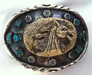 Make An Offer Dead Pawn Carved Horse Navajo Belt Buckle, Turquoise, Sterling