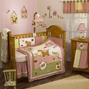 Cocalo Abby's Farm Baby Girl Crib Set Barnyard Cow Chicken Pink Gently Used