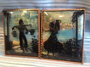 Pair Glass Convex Silhouette Man And Woman Carry Water Framed Picture Vintage