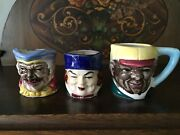 Set Of 3 Decorative Small Toby Mugs Made In Japan Excellent 2
