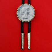 Us 1980 Susan B. Anthony Dollar Bu Unc Coin Leatherette Cord Bolo Tie New