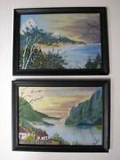 2 Matched And Signed Oil On Cardboard Miniature Japanese Paintings C. 1950-1960